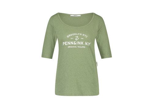 PENN&INK Penn & Ink T-shirt F784 Print Khaki White