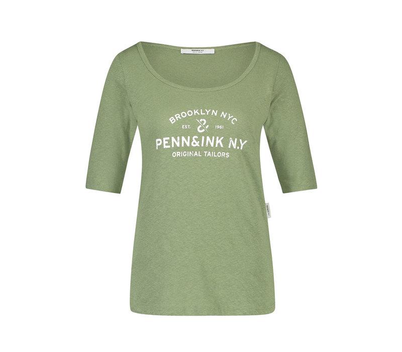 Penn & Ink T-shirt F784 Print Khaki White