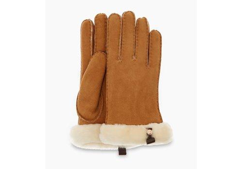 Ugg UGG Shorty Gloves Women Leather Trim Chestnut