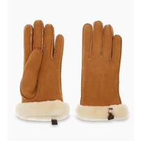 UGG Shorty Gloves Women Leather Trim Chestnut