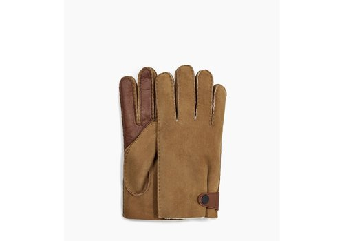 Ugg UGG Sheepskin Gloves Men Side Tab Tech Chestnut