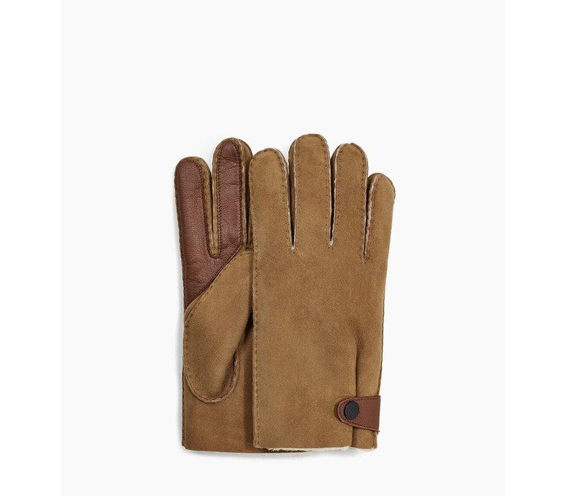 UGG Sheepskin Gloves Men Side Tab Tech Chestnut