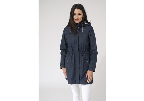 Batela Batela Navy Raincoat with Striped Lining