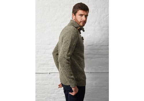 Fisherman out of Ireland FISHERMAN TOGGLE BUTTON COLLAR SWEATER GREENERY