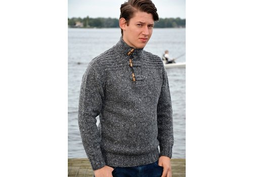 Fisherman out of Ireland FISHERMAN TOGGLE BUTTON COLLAR SWEATER GREYSTONE