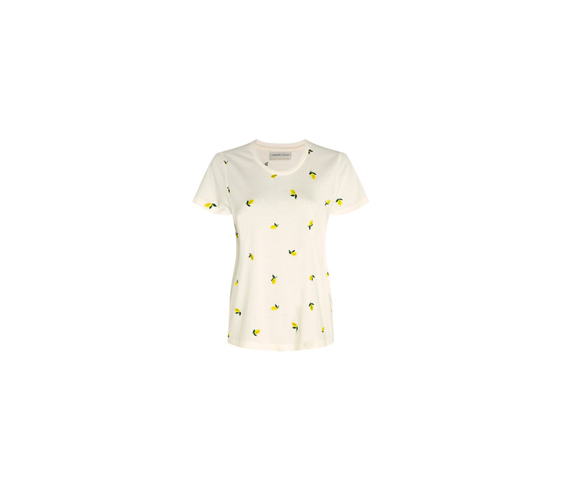 Fabienne Chapot Kris Lime T-shirt EMB Cream White