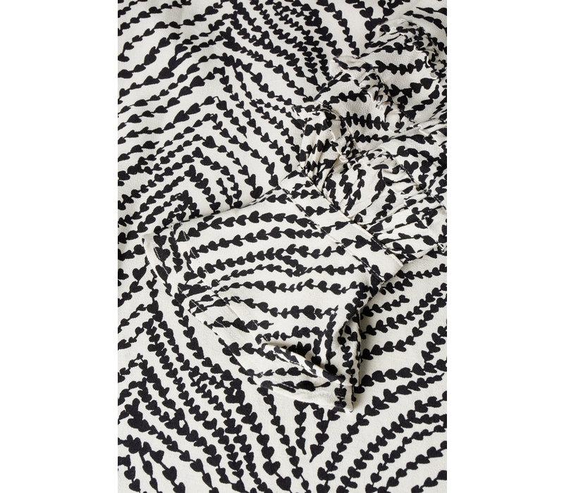 Fabienne Chapot Leo Frill Top Heart Lines Cream White/Black