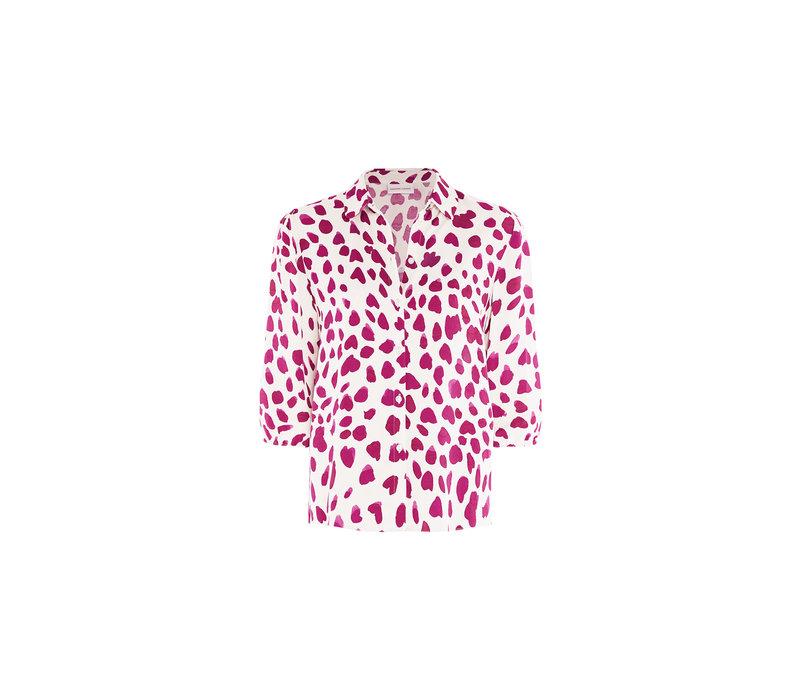 Fabienne Chapot Gina Cato Blouse Happy Leopard Cream White/Cherry