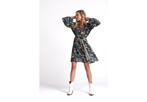 POM POM Amsterdam Dress Roses Midnight Blue Shimmer