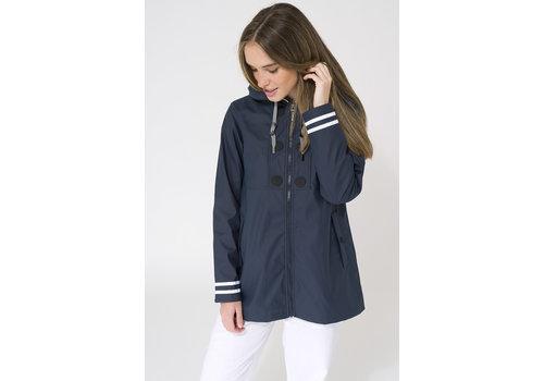 Batela Batela Raincoat Buttons & Striped Lining Navy
