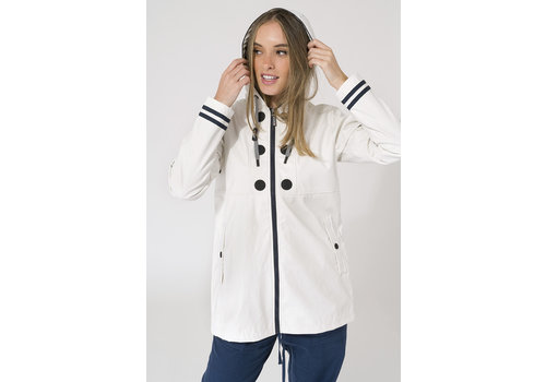 Batela Batela Raincoat Buttons & Striped Lining White