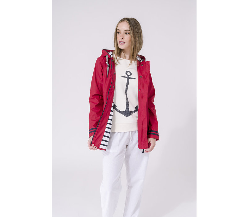 Batela Raincoat Buttons & Striped Lining Red