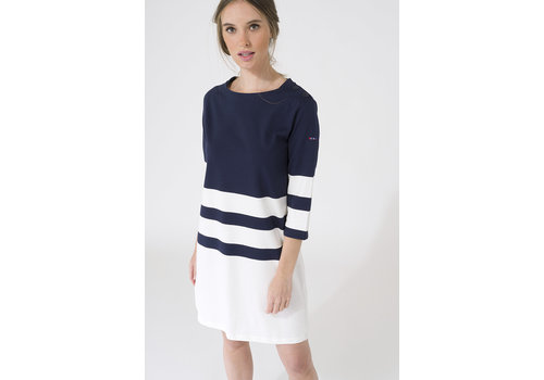Batela Batela Nautical Dress 3/4 Sleeves Navy/Cord