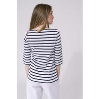 Batela Navy Striped T-shirt White/Navy