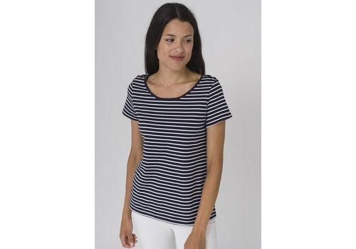 Batela Batela Nautical T-shirt with Shoulder Cords Navy/White