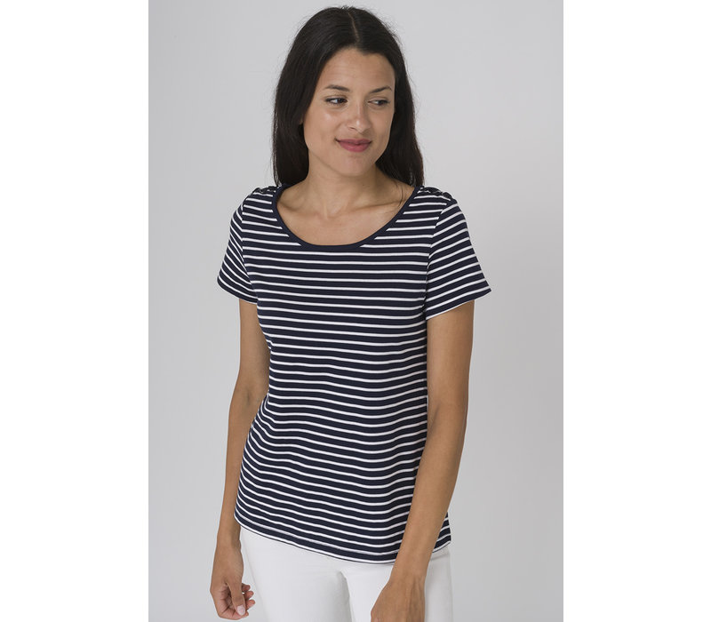 Batela Nautical T-shirt with Shoulder Cords Navy/White