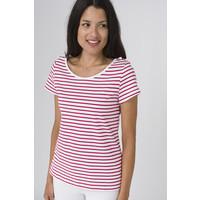 Batela Nautical T-shirt with Shoulder Cords Blanc/Cerise
