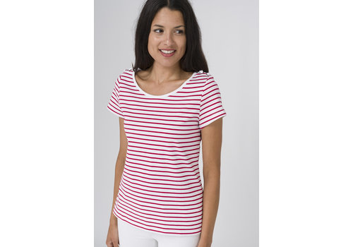 Batela Batela Nautical T-shirt with Shoulder Cords Blanc/Cerise