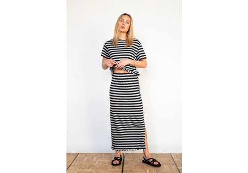PENN&INK Penn & Ink Skirt Stripe T546 Black Pigeon