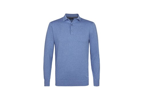 Profuomo Profuomo Knitted Polo Long Sleev Jannick Blue