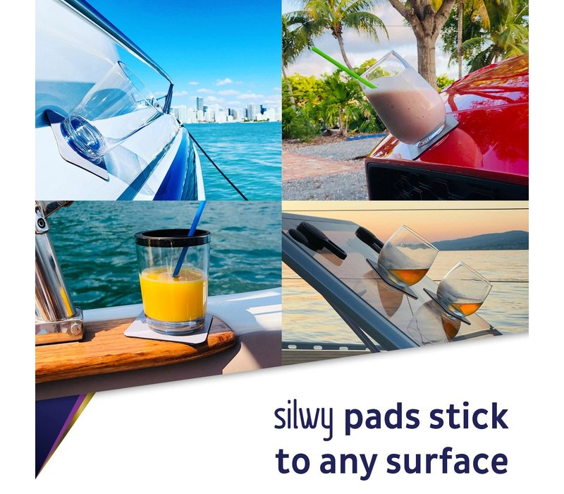 Silwy Metal-Nano-Gel-Pads with Leather Coating / Set of 2 / square / BLUE