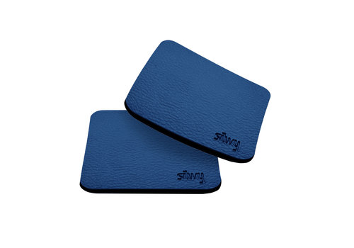 Silwy Silwy Metal-Nano-Gel-Pads with Leather Coating / Set of 2 / square / BLUE