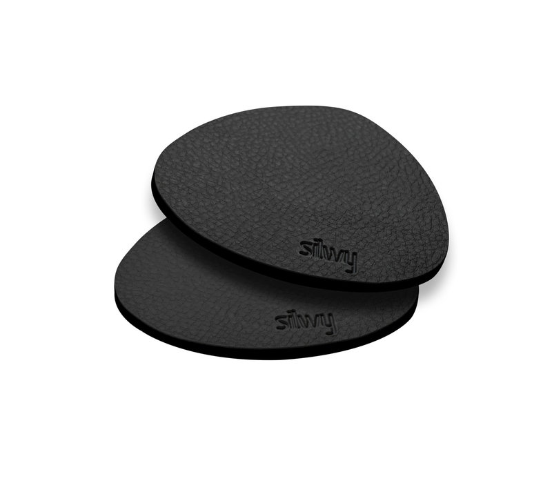 Silwy Metal-Nano-Gel-Pads with Leather Coating / Set of 2 / BLACK