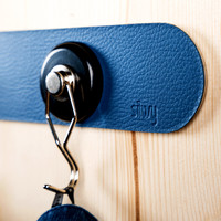 Silwy Metal Strip with Leather Coating / 25 cm / BLUE