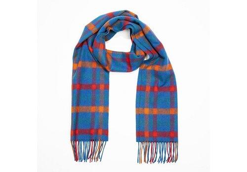 Grand Brands Irish Lambswool Scarf Medium Blue Orange Red Check