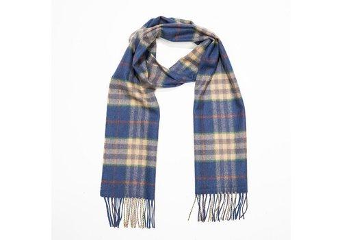 John Hanly Merino Luxury Wool Scarf Blue Carmel Rust Check