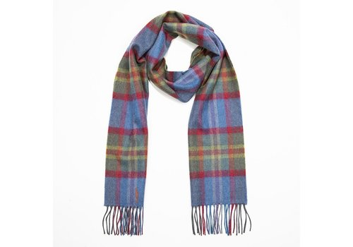 Grand Brands Merino Luxury Wool Scarf. Blue Green Red Check