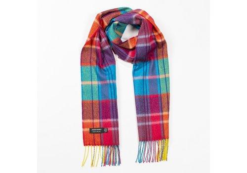John Hanly Merino Luxury Wool Scarf Bright Orange Pink and Turquoise Tartan