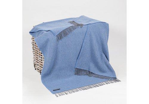 Grand Brands Merino Cashmere Throw Grey Blue Herringbone