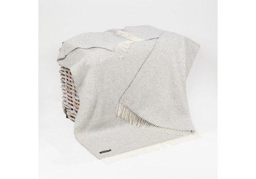Grand Brands Merino Cashmere Throw Pale Grey & Cream Herringbone