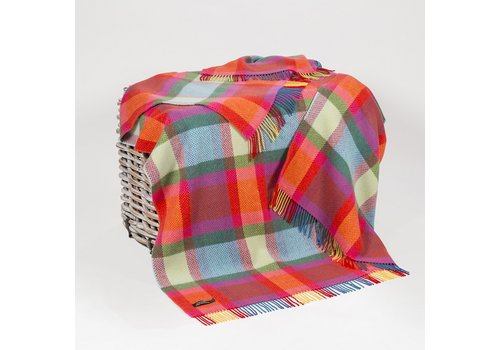 Grand Brands Merino Cashmere Throw Bright Yellow, Pink and Green Check