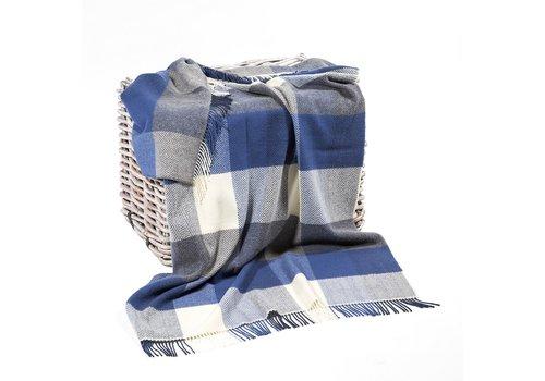 Grand Brands Merino Cashmere Throw White Denim Large Block Herringbone
