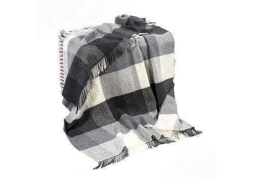 Grand Brands Merino Cashmere Throw White Grey Herringbone Block Check