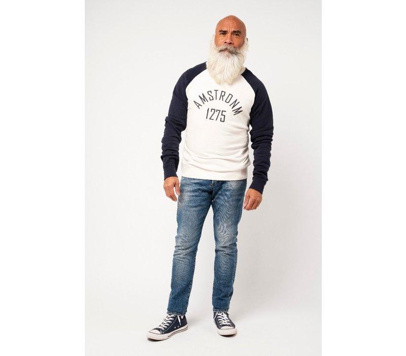 Amsterdenim Sweatshirt Roderick Raglan White/Blue
