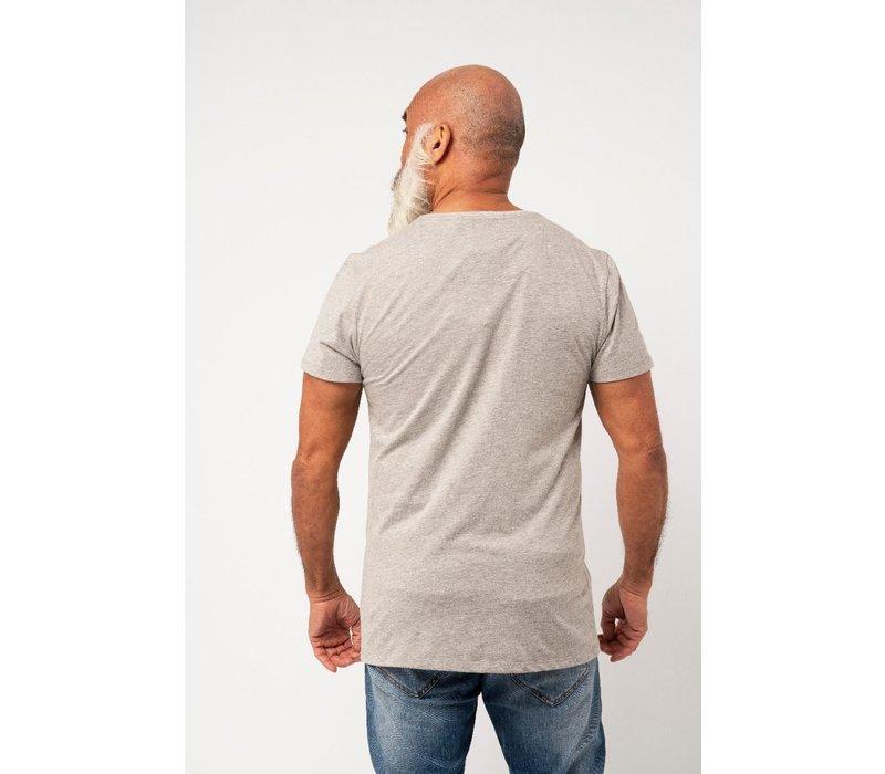 Amsterdenim T-shirt Baas 1275 Print Grey Melange