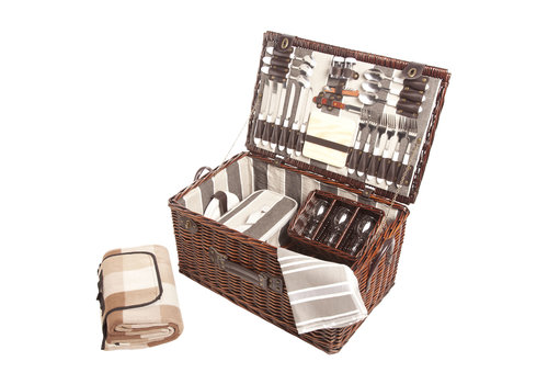 Cosy & Trendy Picknickmand 6 personen - bestek, borden, glazen, flesopenere, servetten, deken, broodmes,