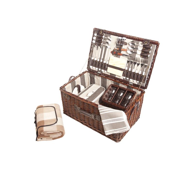 Picknickmand 6 personen - bestek, borden, glazen, flesopenere, servetten, deken, broodmes,