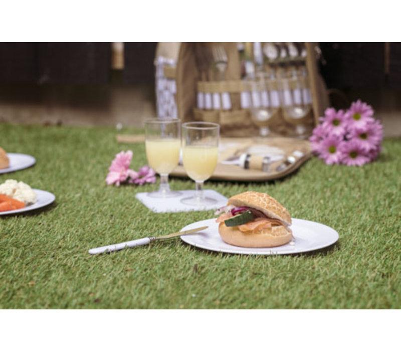 Picknickzak 4 personen - bestek, wijnglazen, borden, peper en zoutvaatjes, flesopener