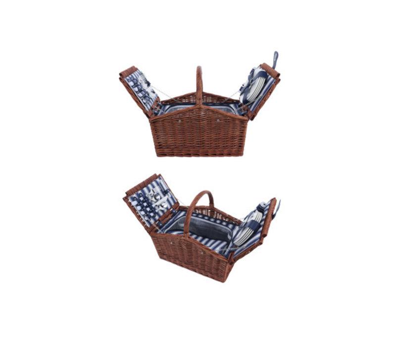 Picknickmand 4 personen - bestek, borden, glazen, wijnopener