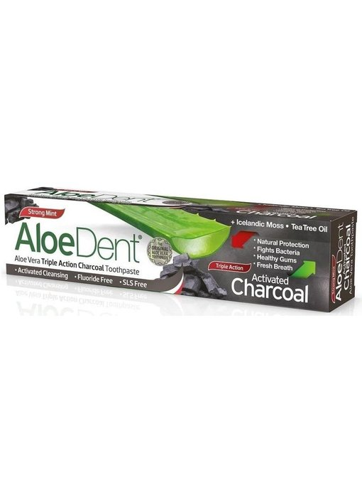 AloeDent Aloe Vera Triple Action Charcoal Tandpasta 100 ml