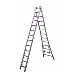 Maxall Tweedelige Reformladder 2x14 + gevel/toprollen  (max. 7,5 meter werkhoogte)