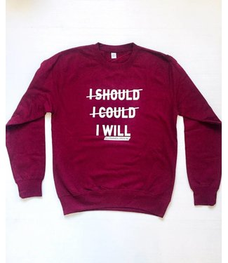HIPHARDLOPEN Sweater I SHOULD I COULD I WILL Wijn Rood