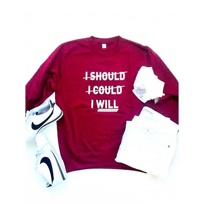 HIPHARDLOPEN Sweater I SHOULD I COULD I WILL Wijn Rood