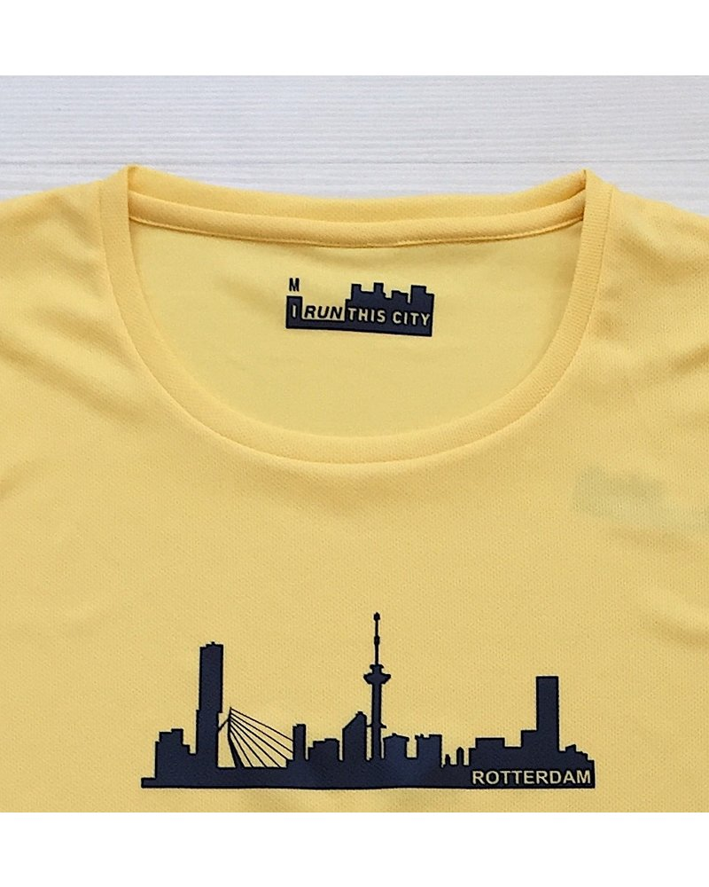 I RUN THIS CITY I Run This City Rotterdam hardloopshirt geel