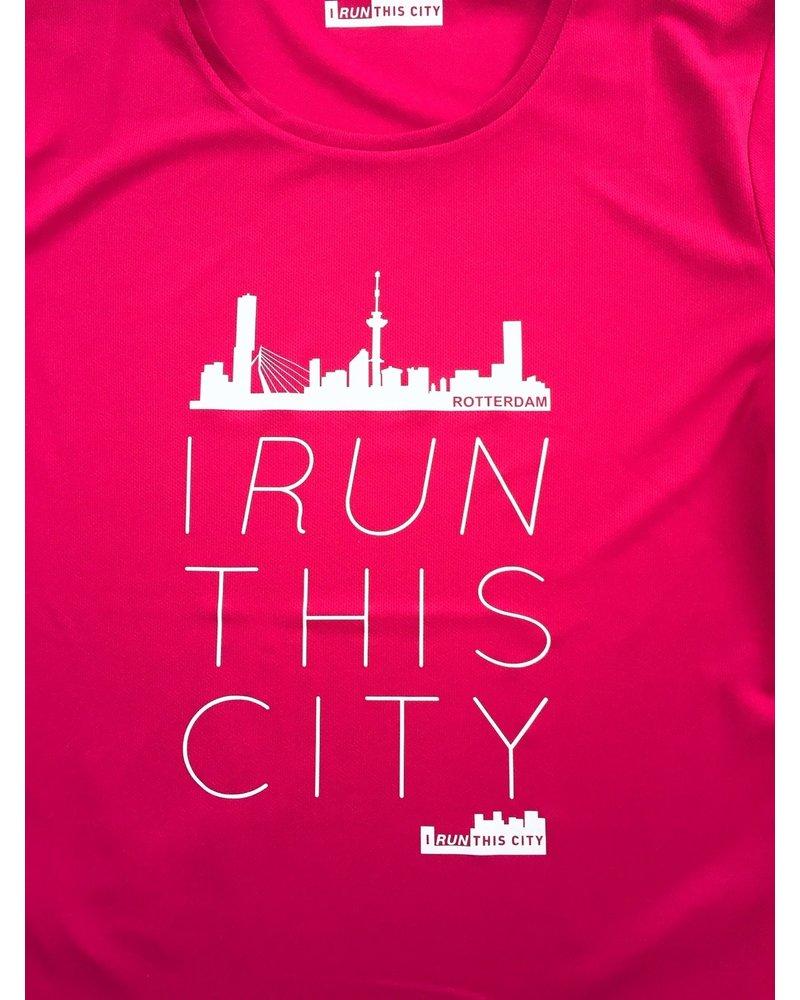 I RUN THIS CITY I Run This City Rotterdam hardloopshirt roze