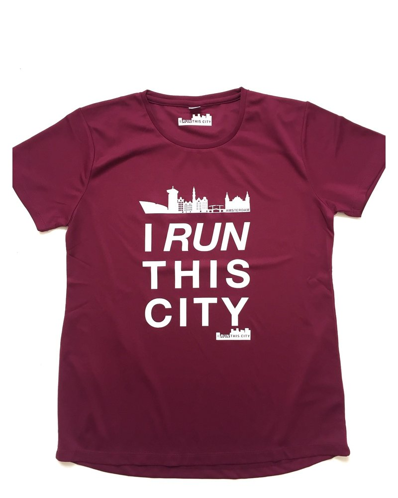 I RUN THIS CITY I Run This City Amsterdam hardloopshirt burgundy